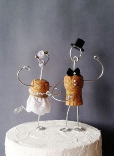 CHAMPAGNE Rustic CORK Wedding Cake Toppers Wine Inspired