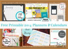 Free Printable 2014 Calendars and Planners- links to a lot of them!