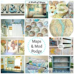 I love how this simple project using a map, a crate, and some Mod Podge added colorful storage for our two youngest sons' shared bedroom. Click below for the tutorial! Map Crafts, Travel Crafts, Crafts With Maps, Book Crafts, Fabric Crafts, Paper Crafts For Kids, Diy Paper, Origami Paper, Paper Crafting