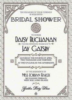My bridal shower idea.Gatsby Invitation Art Deco Wedding Birthday by WestminsterPaperCo Great Gatsby Wedding, 1920s Wedding, Gatsby Party, Dream Wedding, Wedding Stuff, Art Deco Invitations, Shower Invitations, Wedding Invitations, Party Planning