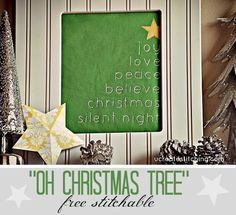 Introducing Free Stitchables on U Create! Find this modern Oh Christmas Tree Pattern and create Christmas Home decor in no time!