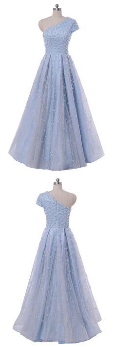 Elegant one shoulder blue lace prom dress