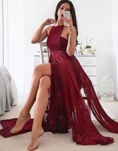 burgundy sexy halter chiffon long 2017 prom dress with slit,PD2259