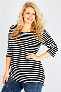 c51297904d5 YOURS CLOTHING Wishlist · Black   White Striped Half Sleeve Top Plus Size  Tops