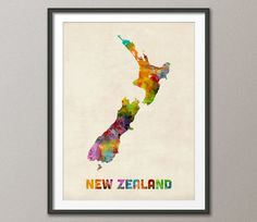 Splashes of watercolored paint make up the Americanflat Art Pause New Zealand Colored Map Wall Art. This unique wall art features an array of beautiful watercolors designed to add a pop of color and worldly style to your wall décor. Watercolor Map, Watercolor Design, Map Of New Zealand, Map Wall Art, Wall Décor, Art Aquarelle, Nz Art, Color Depth, Framed Prints