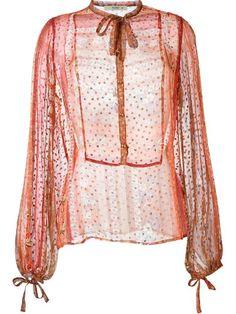 Etro printed drawstring sheer blouse