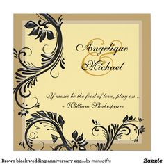 "Brown black wedding anniversary engagement 5.25"" square invitation card"