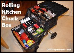 Mobile Rolling Kitchen Chuck Box for Camping and Emergencies