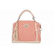 Kardashian Kollection Weave Shopper - Beige/Coral - Women's Kardashian Kollection, Louis Vuitton Damier, Weave, Coral, Pattern, Bags, Fashion, Handbags, Moda