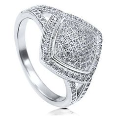 Sterling Silver Cubic Zirconia CZ Womens Fashion Right Hand Ring available at joyfulcrown.com