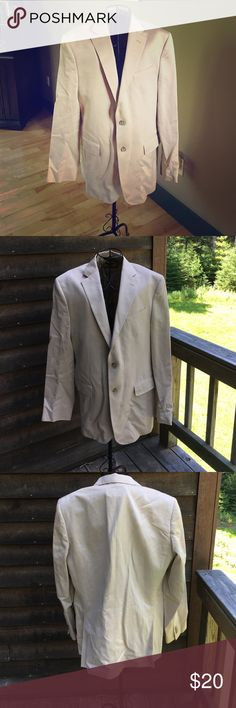 Men's Banana Republic suit jacket This jacket has been dry cleaned only does have some orange stains on some spots could be from being packed away.  Price is reflected. No other issues with this jacket. It's a size 42R. There is some padding in the shoulders. Banana Republic Suits & Blazers