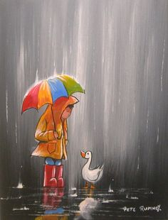 Pete Rumney Art Original Canvas Painting Making Friends Fun Colourful Signed NR Umbrella Painting, Umbrella Art, Easy Canvas Painting, Hand Painting Art, Rain Art, Rain Photography, Art Original, Impressionist Art, Drawing Skills
