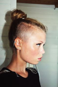 Image result for shaved sides and bun