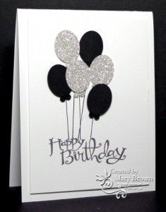 SU! Sassy Salutations and Patterned Party stamp sets; Whisper White, Basic Black, Silver Glimmer paper - Mary Brown