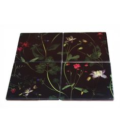 Scanner Floral Glass Coaster Set www.terrariumdesigns.co.uk