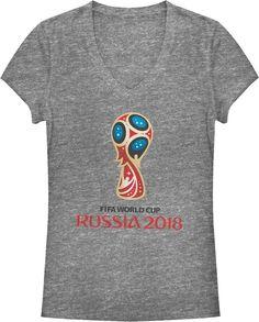11714d946 Fifth Sun Women s FIFA 2018 World Cup Russia World Cup Trophy Logo Grey T- Shirt