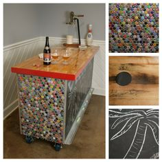 View the bottle cap bar create from tiled bottle caps. There are over unique bottle caps from a collection to create a one-of-a-kind bar. Bottle Cap Projects, Bottle Cap Crafts, Man Cave Diy, Man Cave Home Bar, Diy Projects Man Cave, Summer Brew, Tapas, All Grain Brewing, Bottle Cap Art