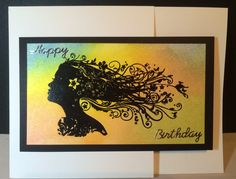 Simple and quick card. Indigo Blu stamp. Black embossing and Tim Holtz distress ink