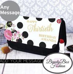 Personalised Floral Dot Make Up Bag