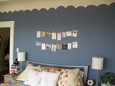 I love creative ways to give the illusion of wallpaper without the work like with this scalloped border. Also, I seize any opportunity to use clothespins for non-clothing items! Wall Paint Colors, Kids Artwork, Nautical Nursery, Traditional Paintings, Of Wallpaper, Home Improvement Projects, Girl Room, Sweet Home, Home Decor