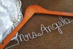 Prompt Delivery Personalized With any Name Custom Bridal Wedding Dress Hanger. $5.99, via Etsy.