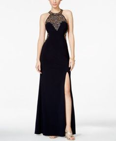 Betsy & Adam Beaded Star Open-Back Halter Illusion Gown