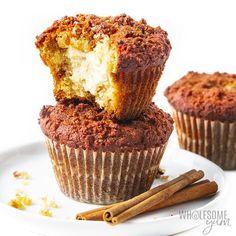Keto Cinnamon Cream Cheese Muffins Recipe | Wholesome Yum Almond Flour Muffins, Cream Cheese Muffins, Almond Flour Recipes, Keto Breakfast Muffins, Low Carb Breakfast, Breakfast Recipes, Low Carb Deserts, Low Carb Sweets, Keto Muffin Recipe