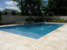 Custom concrete rectangle shaped swimming pool with stone paver patio, pavers edging, inground pool spouts, and natural stone spa! Simple yet elegant landscape and design, Marlboro NJ pool. Inground Pool Designs, Swimming Pool Designs, Square Pool, Rectangle Pool, Backyard Pool Landscaping, Landscaping Ideas, Backyard Seating, Backyard Ideas, Kidney Shaped Pool