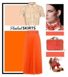 """""""Weel, yes, I love coral...."""" by theitalianglam ❤ liked on Polyvore featuring Karen Walker, self-portrait, Malone Souliers, Sarah's Bag and pleatedskirts"""