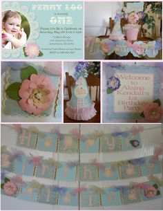 Shabby Chic Flower Birthday Party Package by ASweetCelebration Vintage Party Decorations, 1st Birthday Decorations, 1st Birthday Parties, Girl Birthday, Birthday Ideas, First Birthdays, Shabby Chic, Party Package, Packaging