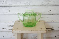 Green Scalloped Depression Glass Sugar Bowl by TheFarmhousePorch, $12.00