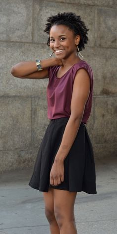 The Evelyn in Plum is a relaxed tee that is adorable tucked in to a skirt. [http://elegantees.com]