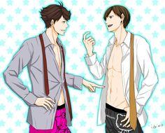 Iwaoi, Oikawa, Haikyuu Ships, Vampire Knight, Haikyuu Anime, Anime Guys, Anime Characters, Fan Art, Manga