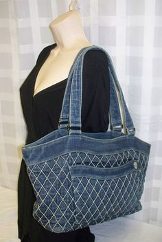 Vera Bradley Blue Jean Quilted Stitching Large Tote Double Straps Shoulder Bag $0.98