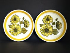 Crown Lynn Charmaine 333 Salad Plates - Vintage Yellow Flowers - Set of Two - Dinnerware - Made in New Zealand