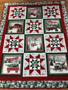 Jingel All The Way Christmas Quilt Blanket 11 Quilt Baby Quilt Panels, Fabric Panel Quilts, Christmas Quilting Projects, Christmas Quilt Patterns, Christmas Sewing, Christmas Patchwork, Christmas Truck, Christmas Embroidery, Winter Quilts