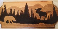 Moose Bear Silhouette Wood Burning by LMEdesignphotography on Etsy