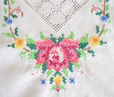 embroidered floral vintage tablecloth vintage by minoucbrocante, €19.50
