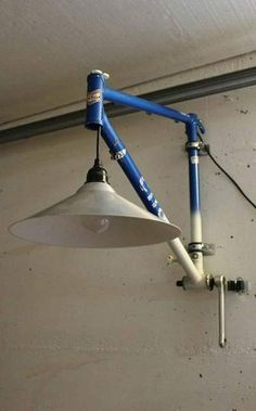 Upcycling unique from recycled material. Bicycle parts lamp. Lamp with reuse . Upcycling unique from recycled material. Bicycle parts lamp. Lamp with reused bike frame Source by veganisstgruen Industrial Light Fixtures, Industrial Lighting, Industrial Pipe, Industrial Furniture, Upcycled Furniture, Furniture Ideas, Furniture Design, Cheap Home Decor, Diy Home Decor