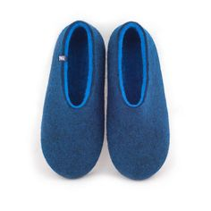 Our new men's blue slippers collection has colour shades you cannot resist! #handmade #shoes #felt #slippers