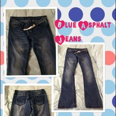 Blue Asphalt Jeans Blue Asphalt Jeans. Memphis Boot Cut style. I bought these on Poshmark but they are too tight. They run small and are fitted stretch jeans. Medium Dark Wash. Blue Asphalt Jeans
