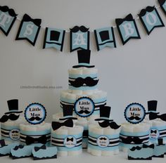 PARTY IN BOX Little man Baby shower/ Little man party/ Mustache baby shower/ Little man diaper cake/ mustache diaper cake/ Diaper cake for boys/ boy baby shower/ Unique diaper cakes/ Custom diaper cake/ Little man theme/ diaper cake/ Centerpieces/ Baby shower decor/ Boy shower decor  by LittleOrchidStudio on Etsy