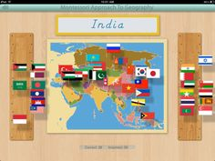 Flags of Asia for the iPad by Mobile Montessori.