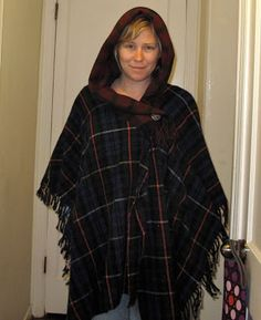 Resweater: Tutorial Tuesday - wool throw blanket to hooded poncho