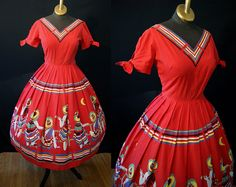 Sassy 1950s red cotton new look summer sun dress Mexicana theme sombrero print