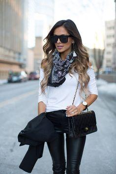 Topshop Neckerchief. Shopbop Top. Blank NYC Leather Pants. Zara Heels. Nasty Gal Sunglasses. Baublebar Earrings.