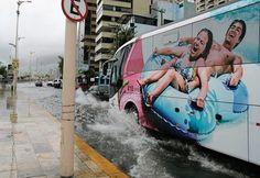 When this bus made a splash.