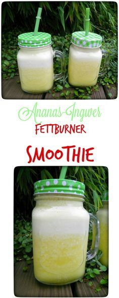 Ananas-Ingwer-Fettburner Smoothie Detox in the morning: pineapple - ginger fat burner smoothie. Smoothie Detox, Fat Burner Smoothie, Smoothie Fruit, Strawberry Smoothie, Smoothie Drinks, Cleanse Detox, Diet Drinks, Yummy Recipes, Healthy Recipes