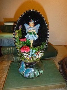 Collectible Emu egg with garden fairy figurine