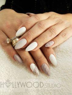 Sugar Effect i Gel Brush Sin City z Efektem Syrenki by Magdalena Fibich Mendrek #winter #pastel #nude #beige #white #mermaid #effect #magic